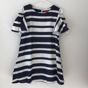 Akira navy and white striped mini dress